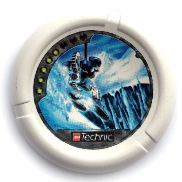 White Throwbot Disk, Ski / Ice, 5 pips, skiing down to ice spires Pattern