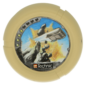 Tan Throwbot Disk, Granite / Rock, 4 pips, flying box hitting rock Pattern