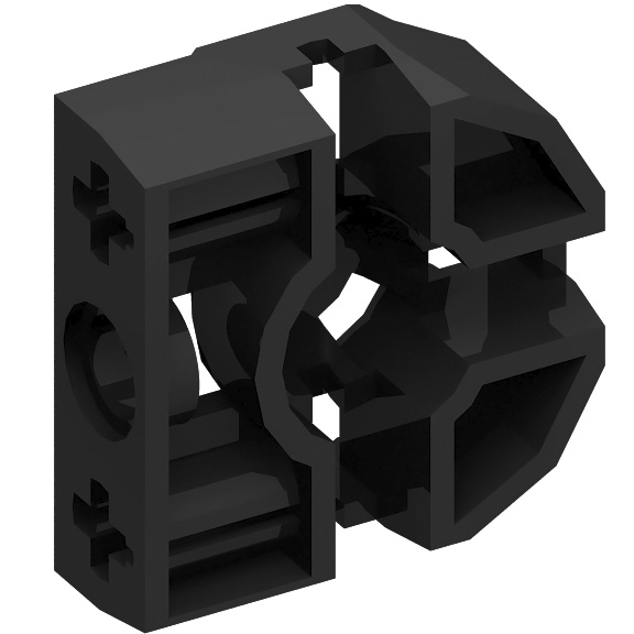 Black Technic Pin Connector Block 3 x 3 x 1