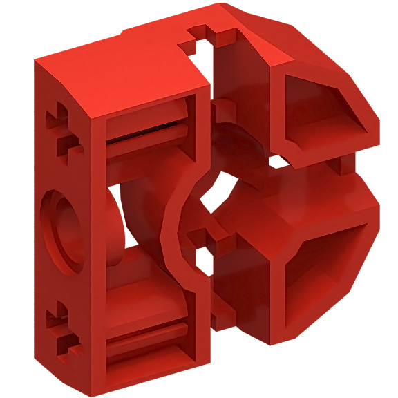 Red Technic Pin Connector Block 3 x 3 x 1