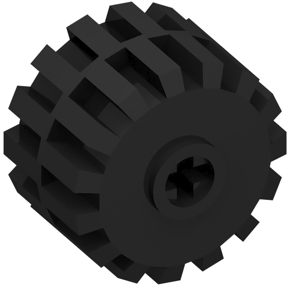 Black Wheel Full Rubber Flat with Axle hole